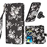 iPhone 8 Plus Wallet Case,iPhone 7 Plus Case with Card Holder,MISSCASE Premium PU Leather Flower Floral Magnetic with Detachable SlimCase Card Holder for iPhone 8/7 Plus 5.5 inch,Lanyard,Black