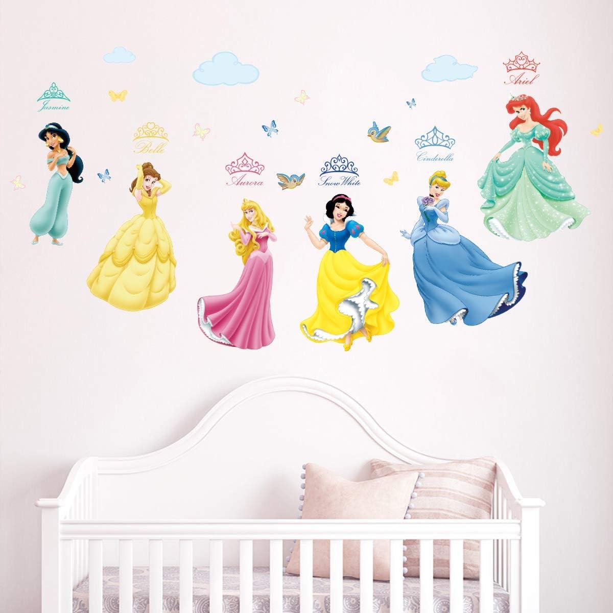 Runtoo Pegatinas de Pared Princesa Stickers Adhesivos Vinilo Niñas Decorativas Infantiles Habitacion Bebe