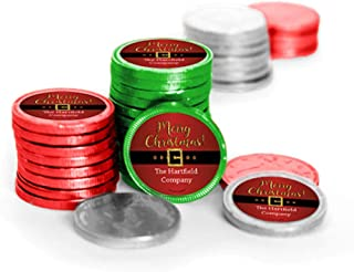 Christmas Candy Personalized Santa Buckle Chocolate Coins (84 Pack)