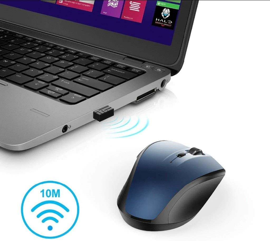 Unlimited Creative Power Saving Laptop Wireless Mouse Cute Girl Mouse USB Interface Color : Blue