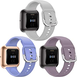 QIBOX Bands Compatible with Fitbit Versa/Versa 2, Soft Silicone Breathable Sport Replacement Wristband Women Men Accessori...