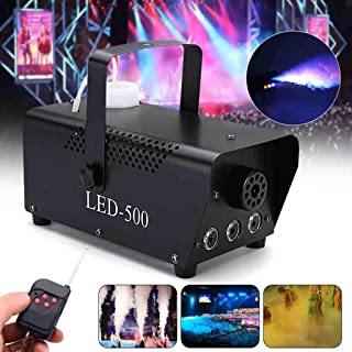 Stage Accessories Effect Machines Fog Smoke Machine with Wireless Remote Control & Colorful LED Light Effect for Halloween...