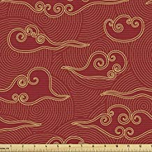 Ambesonne Asian Fabric by The Yard, Traditional Japanese Style Sky Scrolling Clouds Far Eastern Folk Motif Pattern, Decorative Fabric for Upholstery and Home Accents, 1 Yard, Vermilion Cream