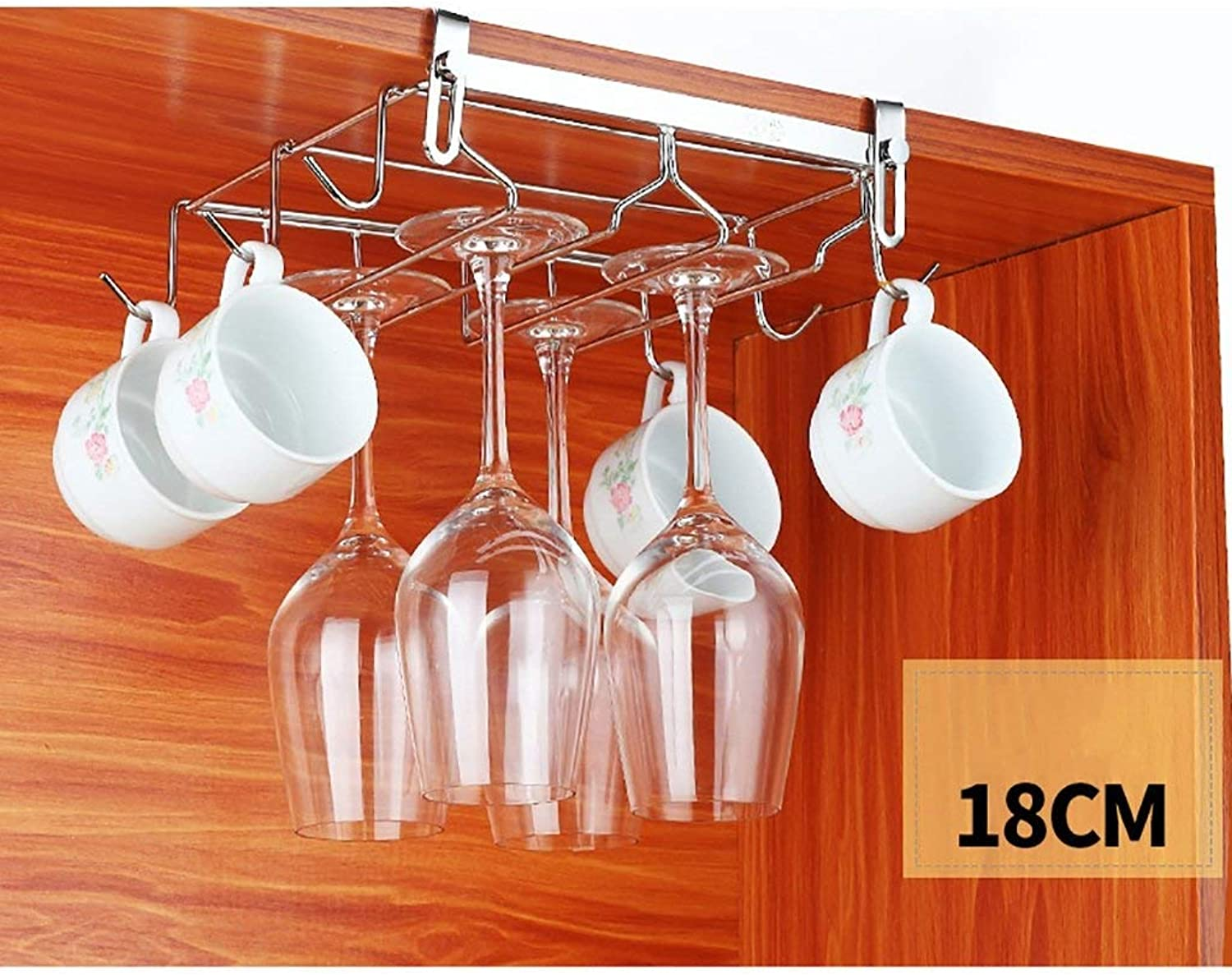 Red Wine Shelf 304 Stainless Steel Hanging Wine Rack Coffee Cup Holder for Kitchens (Size   24CM-B) (Size   18CM-B)