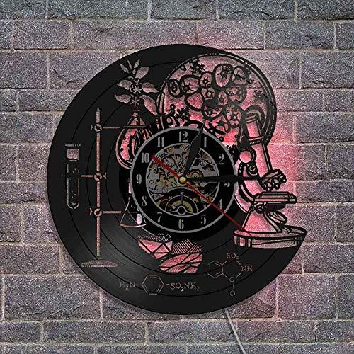 showyow Reloj de Pared LED de Registro, Reloj de Pared de Vinilo Creativo, Regalo para Profesor de química, decoración de Oficina de Ciencia química