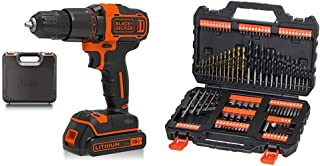 BLACK+DECKER 18 V Cordless 2-Gear Combi Hammer Drill Power Tool with Kitbox, 1.5 Ah Lithium-Ion, BCD700S1K-GB & Set ACCESS...