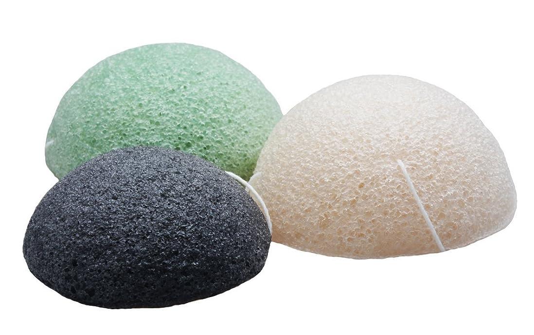 出演者フロー商業のSinland こんにゃくスポンジ 蒟蒻洗顔マッサージパフ 3色セット 乳白 緑茶 竹炭
