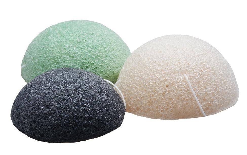 玉ねぎ分散要旨Sinland こんにゃくスポンジ 蒟蒻洗顔マッサージパフ 3色セット 乳白 緑茶 竹炭