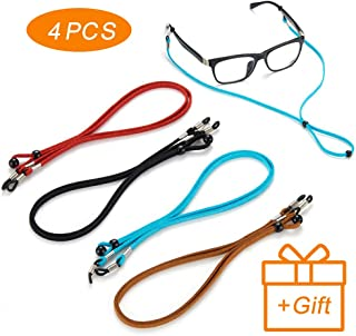 4Pcs Premium Leather Eyeglasses Straps-Chains-Adjustable Eyewear Retainer- Glasses Holder Lanyard Chains Cord for Men Women Kids