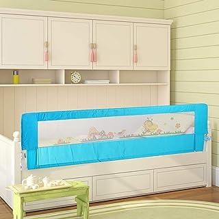 Greensen Barandilla de La Cama Guardia de Seguridad para Niños, Plegable Riel de Barrera Cama Transpirable (Azul, 180 x 64 cm)