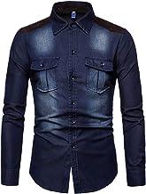 Camisa de Manga Larga de Mezclilla para Hombres Algodón Jean Slim Fit Wash Parche Vintage Suede Western Casual Shirt Top