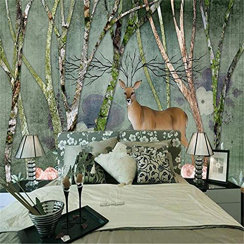 Fotobehang, muurstickers, Europees Forest Elk American Retro Style Wall Factory Wholesale Wallpaper Wall Custom Photo Wall en alle HD-beelden About 350*245cm 3 stripes