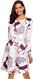 KCatsy Women Casual Long Sleeved Round Neck Christmas Print Large Swing Loose Dress