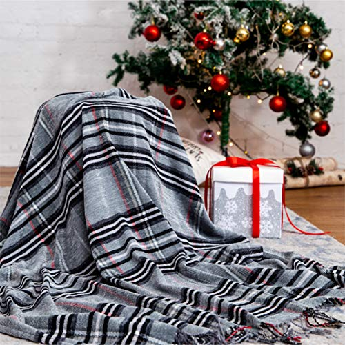 """Bedsure Christmas Plaid Blanket Throw Size, Soft Chenille Decorative Blanket with Tassel for Couch, Sofa, Bed and Home Decor (Grey, 50""""x60"""")"""