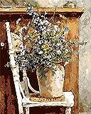 Kit de pintura al óleo por número, para niños y adultos, principiantes, 40,6 x 50,8 cm, diseño de silla de flores con pinceles, decoración de Navidad regalos (marco)