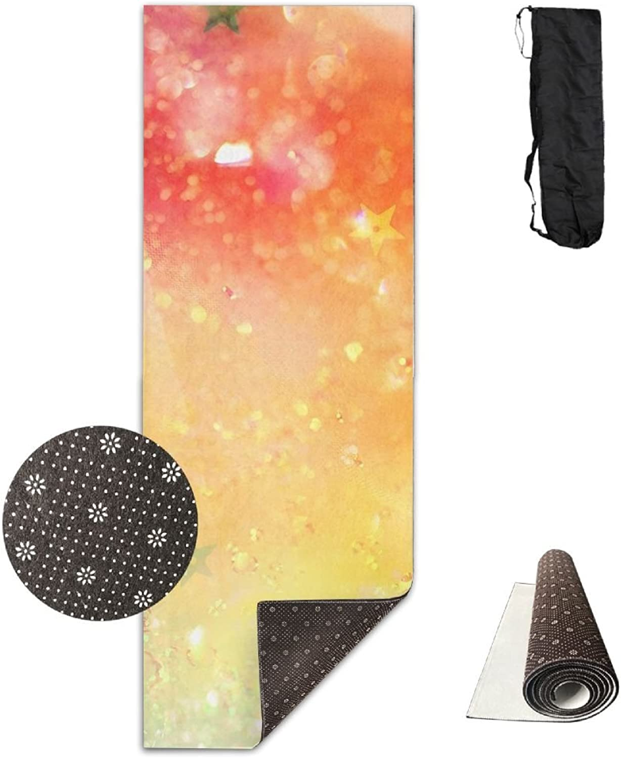 Non Slip Yoga Mat colorful Sparkles Premium Printed 24 X 71 Inches Great For Exercise Pilates Gymnastics Carrying Strap