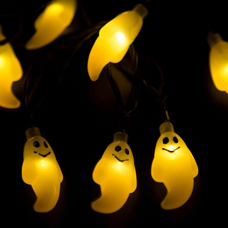恐怖症知的カビレンコス(Lemcos)ハロウィーン 10 LEDライト 幽霊 飾り ストリングライト クリスマス 装飾 撮影道具 デコレーション用 パーティー 雰囲気 冬の飾り 装飾 DIY 撮影小道具 発表会 舞台、1.2 M(イエロー)