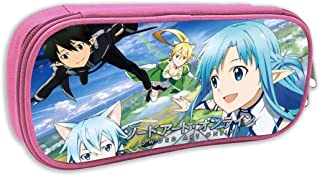 Boys Girls Big Capacity Zipper Pencil Box, Sword Art Online Japanese Animation SAO Lost Song Marker Bag Desk Organizer Cute Students Stationery Pouch for College