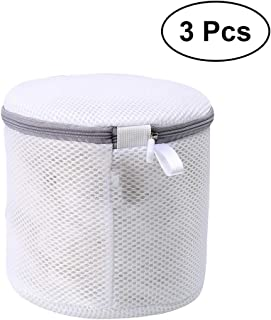 LIOOBO 3pcs White Thickened Durable Laundry Bag Washing Bags Protection Pouch Zipper Holder for Bras Delicates Lingerie Underwear Garment