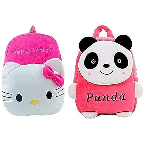 Blue Tree Soft Material School Bag for Kids Plush Backpack Cartoon Toy, Children's Gifts Boy/Girl/Baby/ Decor School Bag for Kids (Panda&Hello Kitty)