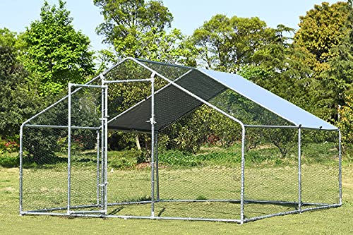 Chicken Coop Run Chicken Pen Outdoor Walkin Chicken Runs for Yard Large Rabbits Habitat Spire Shaped Poultry Cage for 6 Chickens with Waterproof Cover for Backyard Farm Use(9.8'L x 13.1'W x 6.4'H)