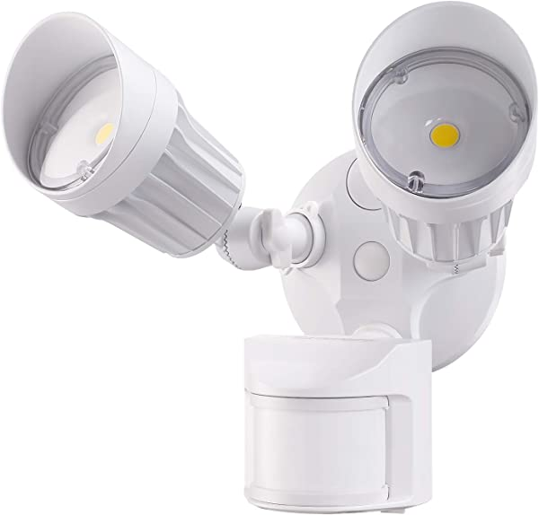 LEONLITE 2 Head LED Outdoor Security Floodlight Motion Sensor Newly Designed 3 Lighting Modes ETL DLC Listed 1800lm Waterproof IP65 For Yard Deck Porch 5 Year Warranty 5000K Daylight White