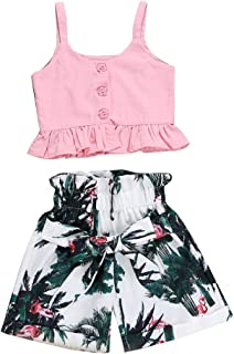 Imcute Kids Baby Girl Summer Outfit Cotton Pink Ruffle Tank Crop Top Floral Shorts Bow Clothes Set Two Piece