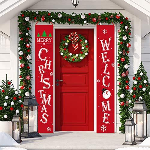 Whaline Weihnachts-Veranda-Schild, rotes Willkommens- und Merry Christmas-Hängeschild für Weihnachtsdekoration, Urlaub, Zuhause, Innen- und Außenbereich, Veranda-Wand