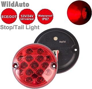 WildAuto Luces De Freno Luces Traseras Camiones Luz De Estacionamiento Para Camión Remolque Camión Furgoneta Caravana 12 V/24 V 95 mm (Rojo 1 pc)