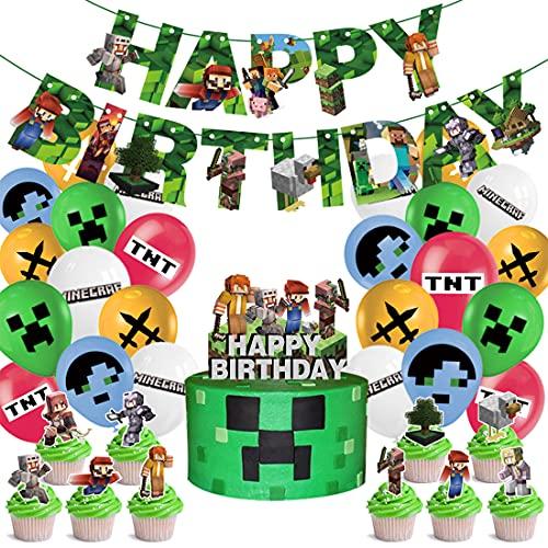 Tomicy Fournitures de Fête pour Thème de Jeu Vidéo Happy Birthday Bannière de Jeux Pixel Ballon Topper de Gâteau Rubans Plats pour Anniversaire Decoration Fournitures