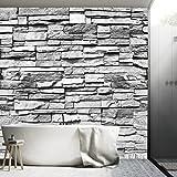 Fototapete Stein 3D 274 x 254 cm inklusive Kleister Steinwand Schwarz Weiß Weiss Mauer Ziegel Tapete - 5