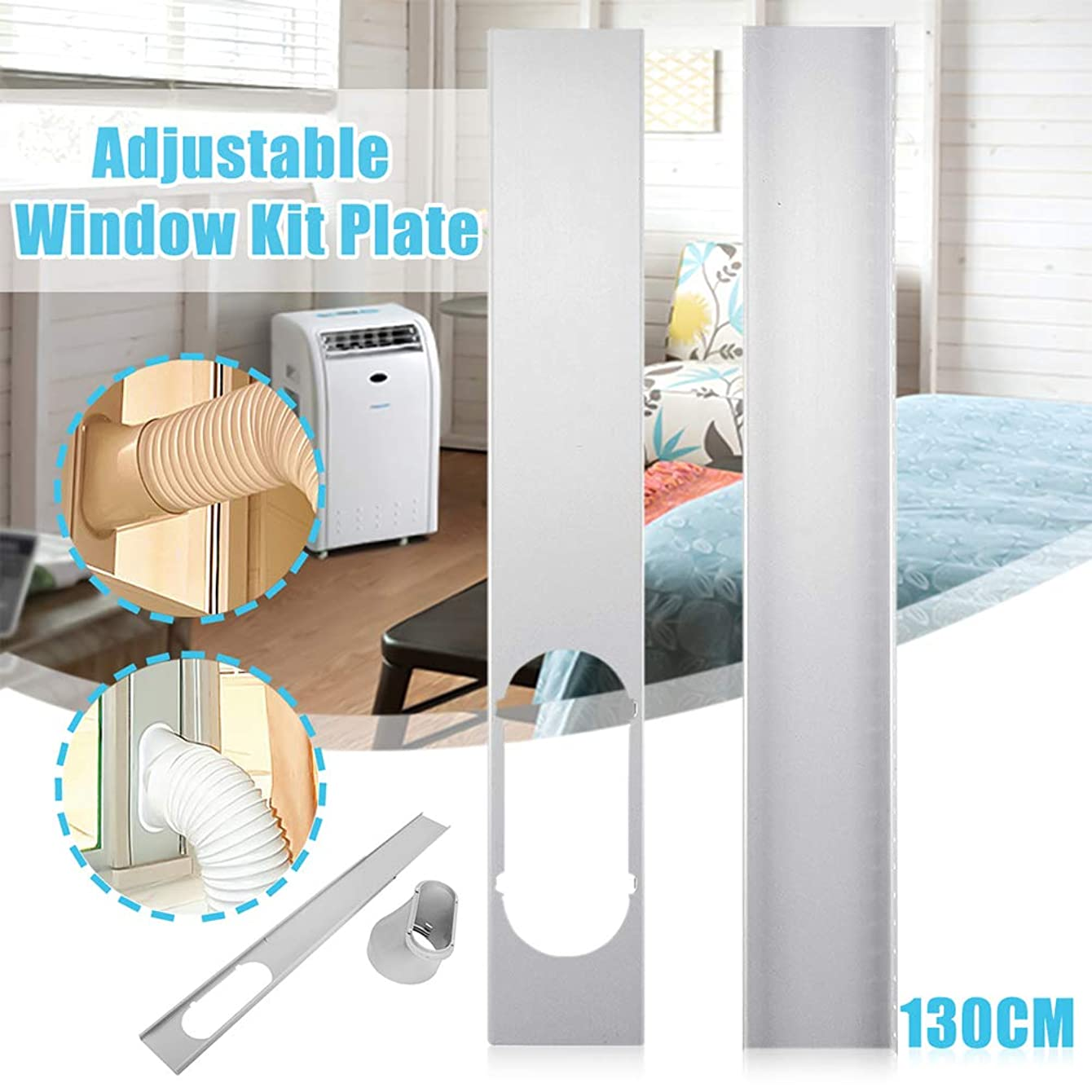 bromrefulgenc Universal Window Seal,Window Kit Plate for Air Conditioner and Tumble Dryer-Works with Every Air-Conditioning Unit - Air Exchange Guards and Adhesive Fastener 2#