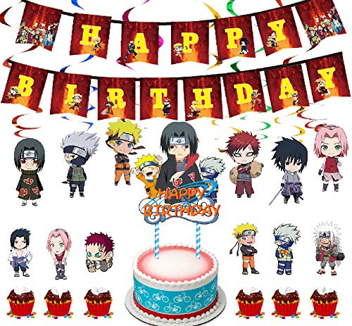 LLMZ Kit Globos Látex 44PCS Naruto Theme Party Set Anime Japonés Naruto Anime Happy Birthday Adorno de Torta para Space Werewolf Kill Decoración para Fiestas de Cumpleaños