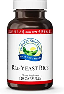 Nature's Sunshine Red Yeast Rice, 120 Capsules, Kosher   Helps Support The Production of Good Cholesterol in The Liver and Supports The Circulatory System