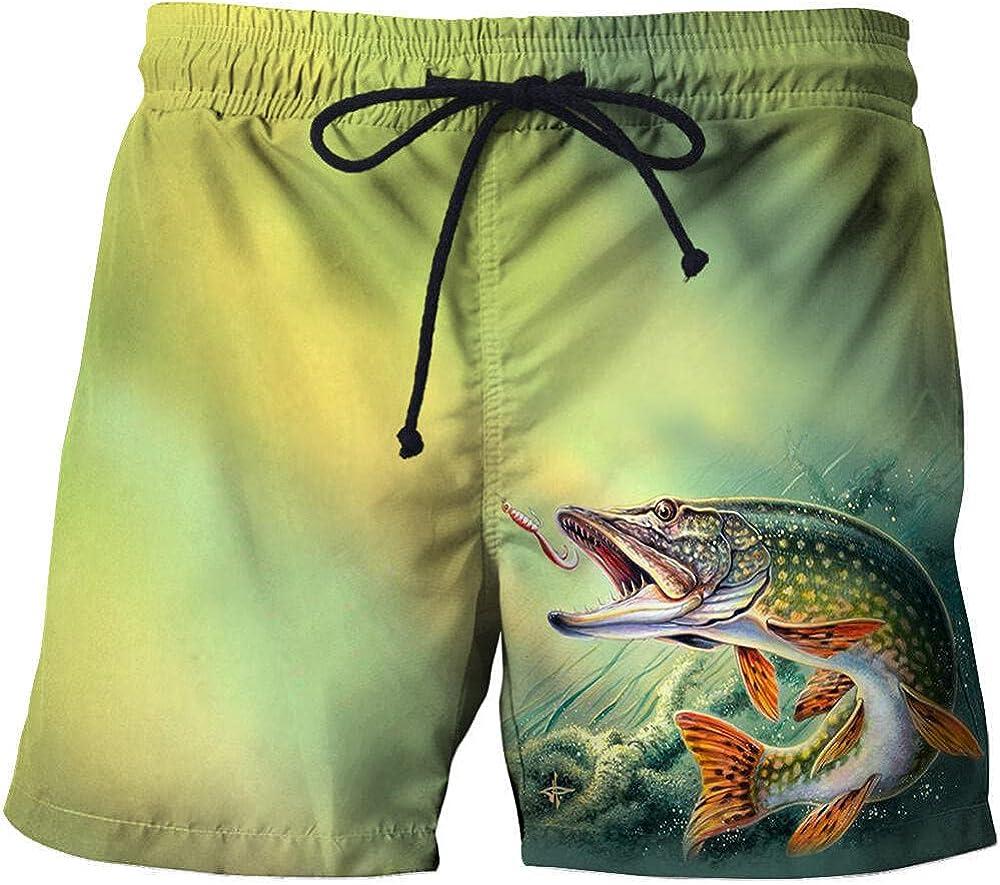 HHSW Mens Board Shorts Beach Pants Fishing 3D Fish Summer Casual Straight Print Shorts-Hhstk430_6XL