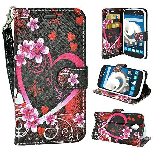 ZTE Allstar LTE, Customerfirst Wallet Case, Wrist Strap Flip Folio [Kickstand Feature] Pu Leather Wallet Case with Card Slot for ZTE Stratos Z818 (Butterfly Pink Flower)