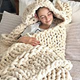 VIYEAR Knit Throw Jumbo Chenille Blanket for Cuddling up in Bed, Chunky Chenille Yarn Arm Knit Blanket on The Couch or Sofa Beige 40'×59'