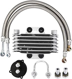 Aramox Aluminum Motorcycle Engine Oil Cooler,Motorcycle oil cooler Motorcycle Engine Oil Cooler Filter Adapter Engine oil filter adapter for Yamaha F8 JYM 110 Horizontal Engine