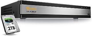 Anlapus 16 Canales 1080P H.265+ DVR Videograbador de Vigilancia 2TB Disco Duro para CCTV Sistema de Cámaras de Seguridad