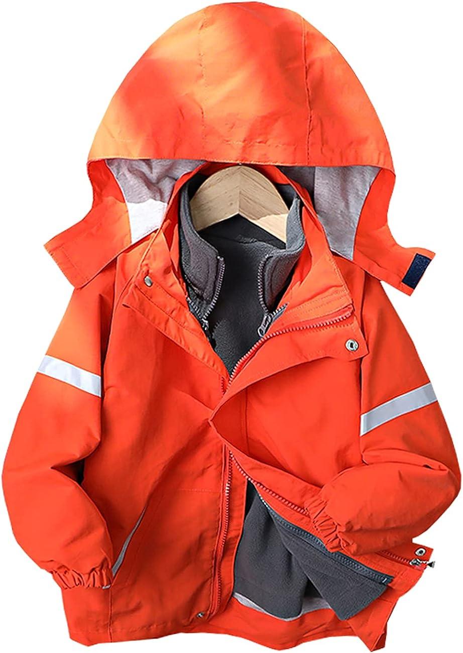 WIYOSHY Boys' Detachable Lined Fleece Hooded Outdoor Jackets Windbreaker Coat