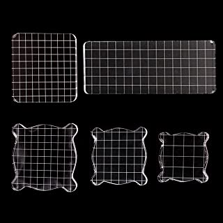 NEWCOMDIGI 5 Pieces Stamp Blocks Acrylic Clear Stamping Blocks Tools with Grid Lines for Scrapbooking Crafts Making, 5 Sizes