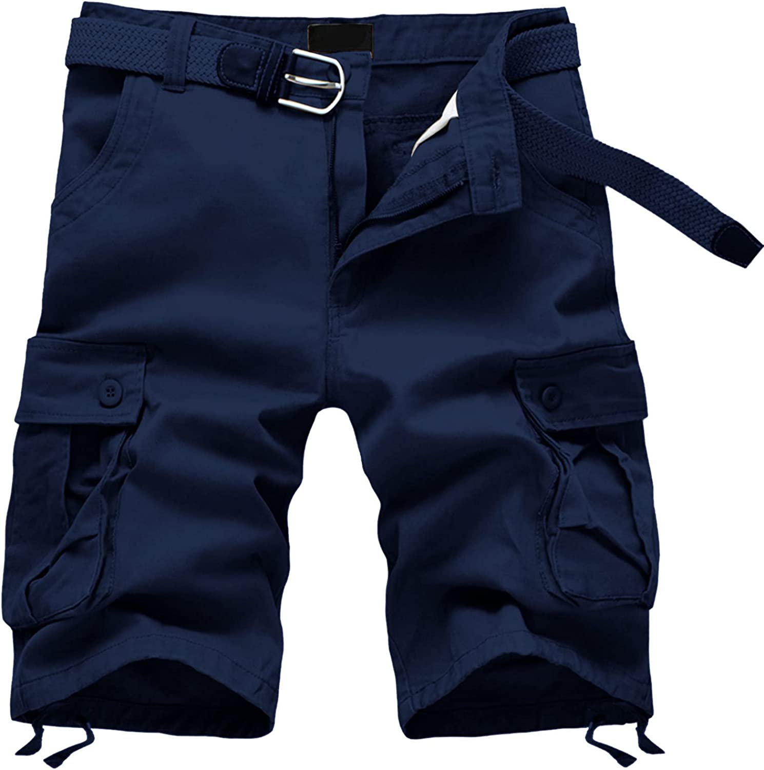 Men's Cargo Shorts Casual Classic Fit Drawstring Summer Beach Shorts with Elastic Waist and Pockets Outdoor Work Shorts