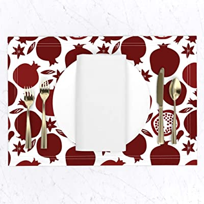 Cloth Placemats Mexican Otomi Black White Red Inspired Safari Animals Set of 2