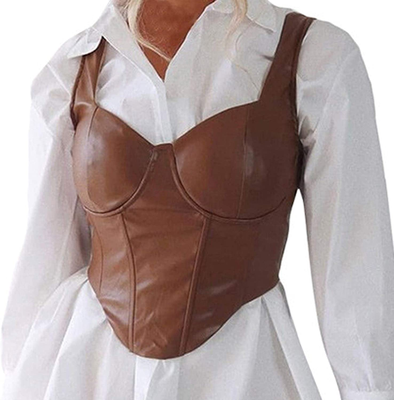 MASZONE Fashion Punk Women Crop Tops Leather Slim-fit Tank Tops Spaghetti Strap Sleeveless Camisole Top Clubwear