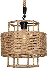 DROMEZ Vintage hanglamp van henneptouw, E27 retro industriële hanglamp, ijzeren kooi kroonluchter voor loft, woonkamer, ee...