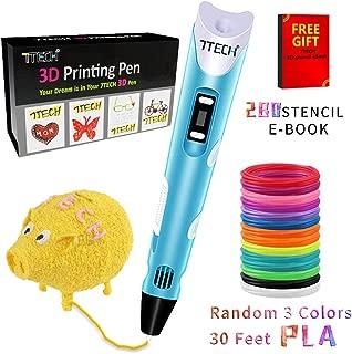 3D Pen, 7TECH 3D Printing Drawing Printer Pens/LCD Screen Free 280 Stencil eBook Bonus Filament Refills for 3D Art Craft Models DIY Design Perfect Gift