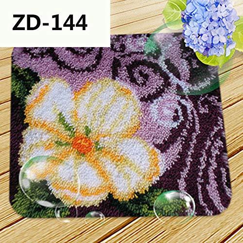 Lee My Kits De Gancho De Cierre Alfombra Bordado Punto Kit para Cojín De Ganchillo De Alfombra, Diseño De Flor Rectangular, Multicolor,Púrpura,17.7x17.7 Inch