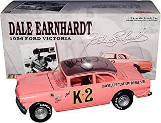 AUTOGRAPHED 1956 Dale Earnhardt Sr. #K-2 Ford Victoria PINK FIRST RACE CAR (Apricot Roof) Vintage K2 Rare Signed Action 1/24 NASCAR Diecast Car with COA
