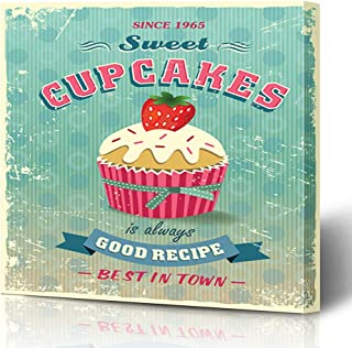Ahawoso Canvas Prints Wall Art Printing 16x12 Text Bake Vintage Cupcakes Food Pastry Drink Cake Retro Tasty Calligraphic Recipe Sweet Advertise Painting Artwork Home Living Room Office Bedroom Dorm