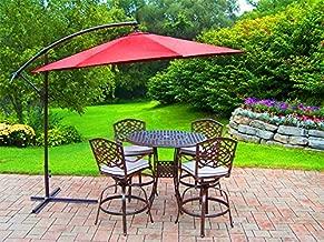 XtremepowerUS Premium 10'ft Offset Cantilever Patio Umbrella Off Set Outdoor Market Umbrella Hand Crank w/Base- Burgundy